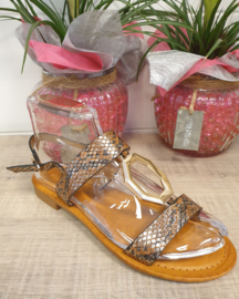 Chausson marron / or