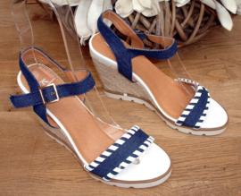 Sleehakken blauw/wit