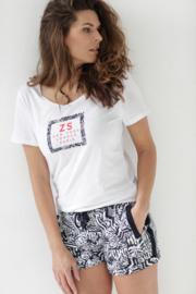 Allover printed short white/navy  203Playa