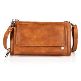 portemonnee met voorvak + schouder hengsel bruin