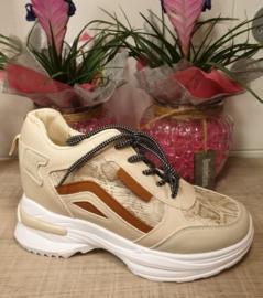 Sneaker sleehak beige snake