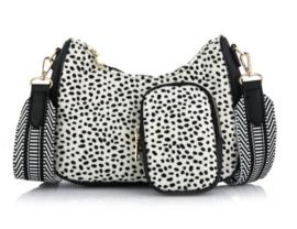 schouder tasje ovaal met coin purse cheetah white