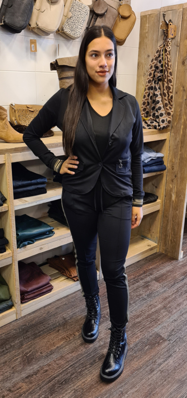 Blazer zipper tricot band zwart     205Famous
