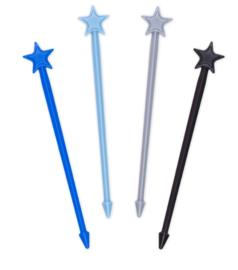 Stix, 4 lange prikkers, blauw, lichtblauw, grijs, zwart
