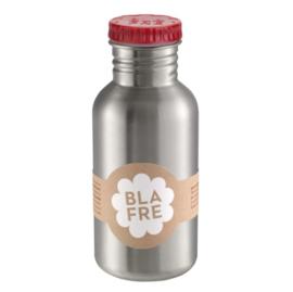 Blafre, rvs retro fles met rode dop 500 ml