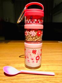 Twist & snack stapelbekers roze bloemen