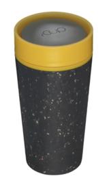 Beker rCup, zwart met geel, groot