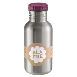 Blafre, rvs retro fles met aubergine kleurige dop, 500ml
