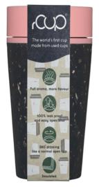 Geïsoleerde koffie- of theebeker, zwart met rose, groot 12oz