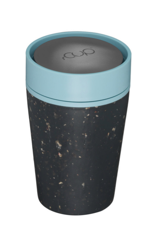 Beker rCup, zwart met lichtblauw, klein