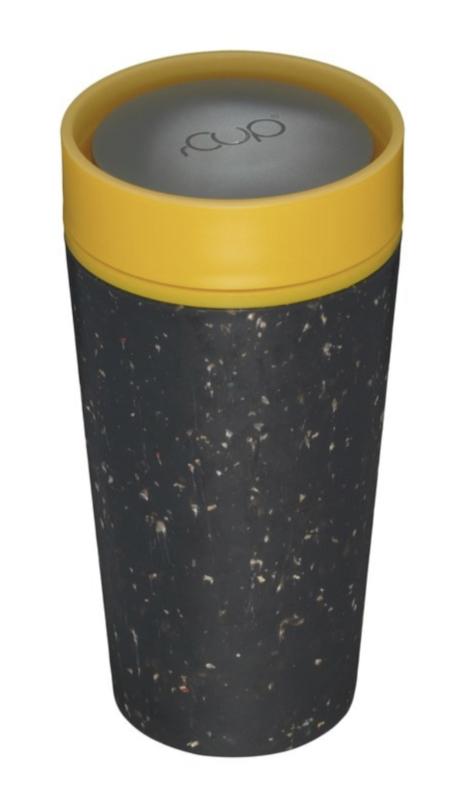 Geïsoleerde koffie- of theebeker, zwart met lichtblauw, groot 12oz