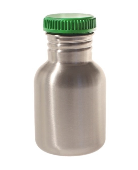 Blafre retro rvs drinkfles, 300 ml, met donkergroene dop