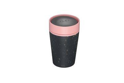 Beker rCup, zwart met roze, klein