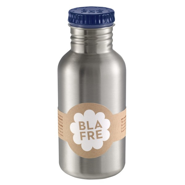 Blafre, rvs retro fles met donkerblauwe dop, 500 ml