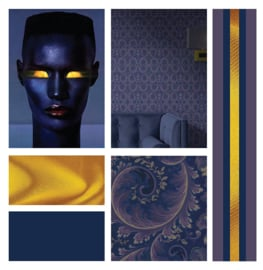 Dark Blue / Klassiek behang