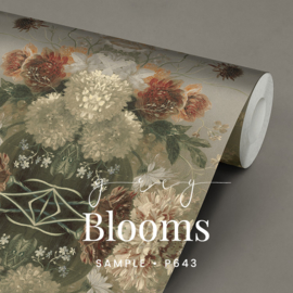Grey Blooms / Klassiek Botanisch behang