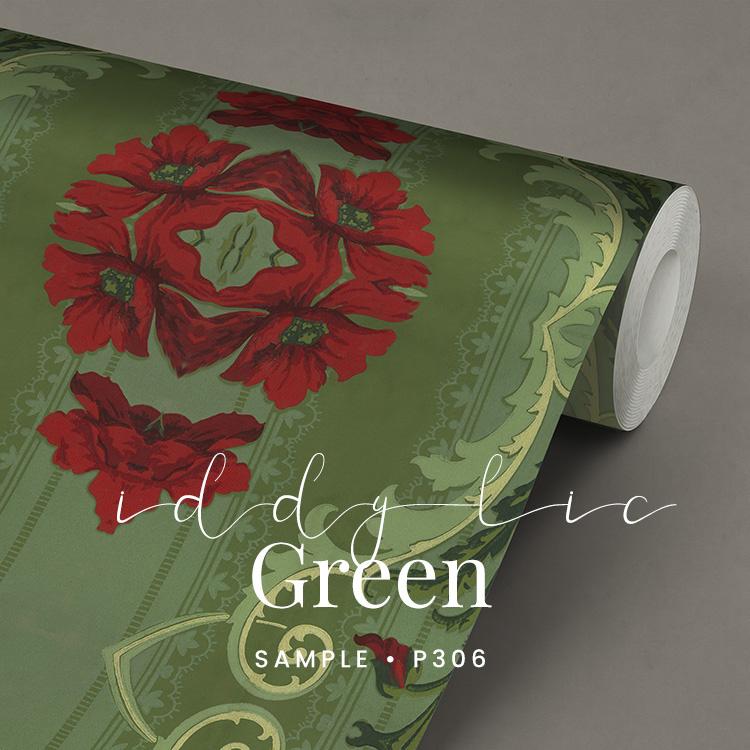 Iddylic Green  / Klassiek Romantisch behang