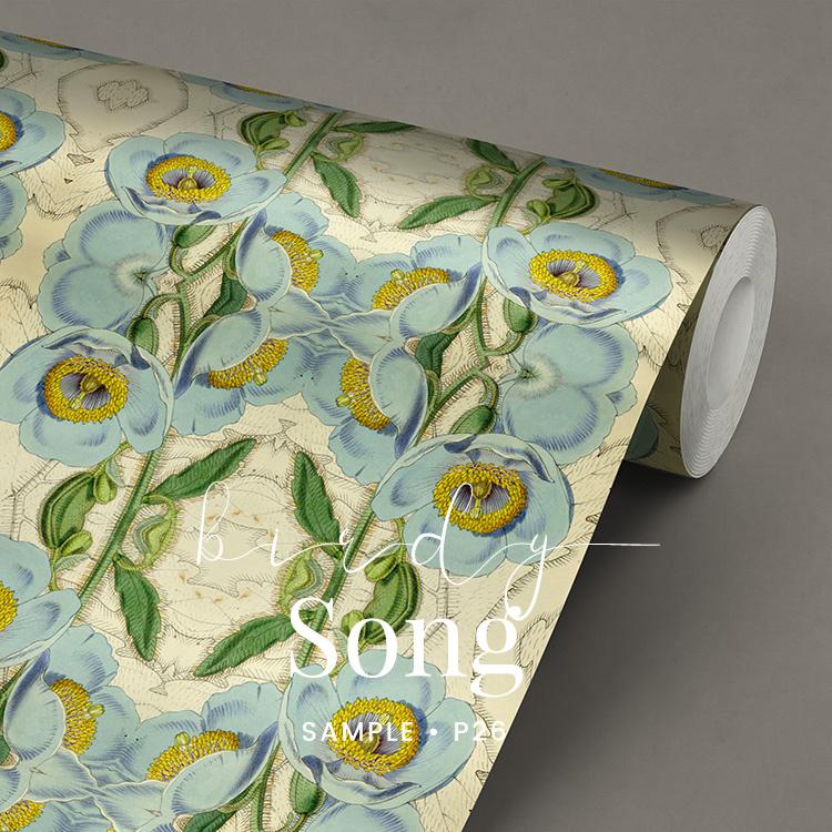 Birdy Song / Botanische bloemen behang
