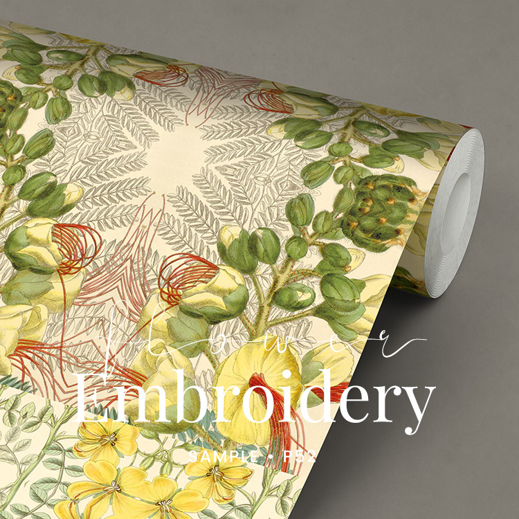 Flower Embroidery / Botanisch Bloemen behang