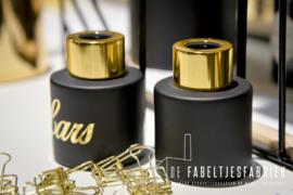 Flesje voor huisparfum zwart met goud
