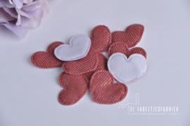 Applicatie hart donker oudroze - 10 stuks
