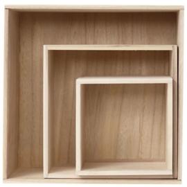 Set van 3 boxen hout