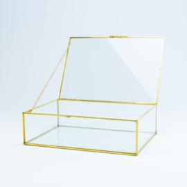 Glazen kist gouden rand klein