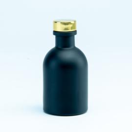 Flesje zwart met gouden dop