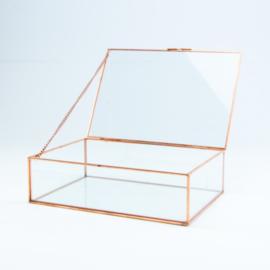 Glazen kistje rosegold rand klein