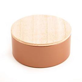 Rond blik met houten deksel brons set van 10