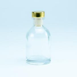 Flesje transparant met gouden dop