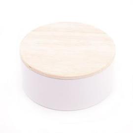 Rond blik met houten deksel wit set van 10