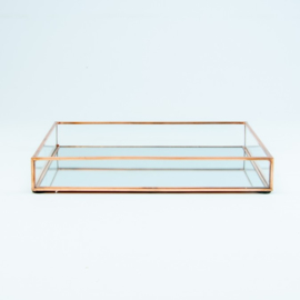 Dienblad glas rosegold