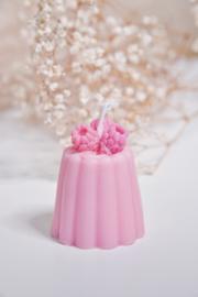 Kaarsje gebak roze framboos