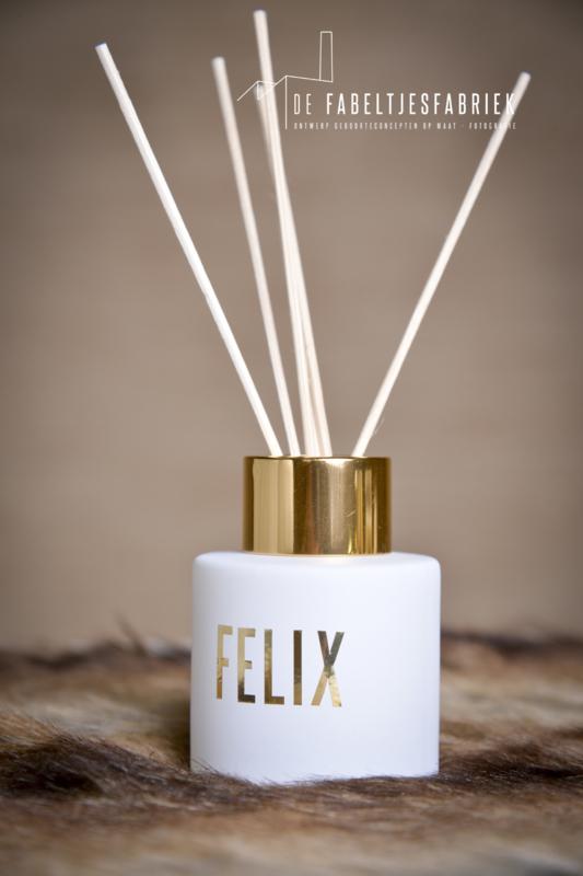 Flesje voor huisparfum wit met goud