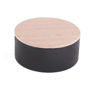 Rond blik met houten deksel zwart set van 10