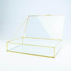 Glazen kistje gouden rand groot