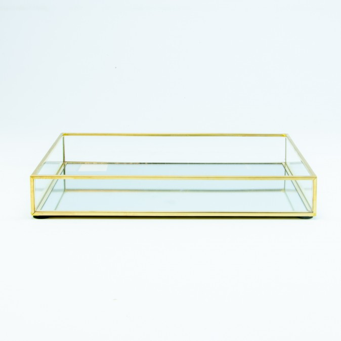 Dienblad glas goud