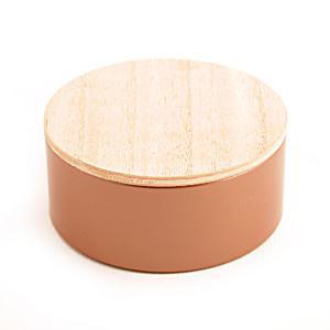 Rond blik met houten deksel brons