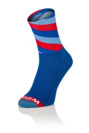 Winaar Fiets Sokken CX M-Power |Blauw/Rood gestreept