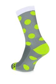 Winaar Fiets Sokken GWF Dots | Grijs/Wit Met Fluo Gele Stippen