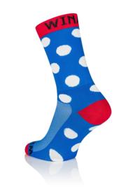 Winaar Fiets Sokken BRW dot - Blauw/Rood Met Witte Stippen