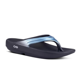 Oofos Recovery Slippers Oolala Black Metallic Blue | Dames