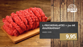 500 gr rundergehakt + 4 procureurlapjes