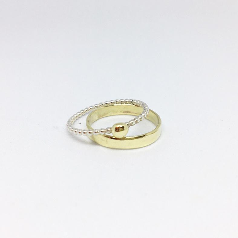 Combinatie ring - 1 x appeltje met gouden ring