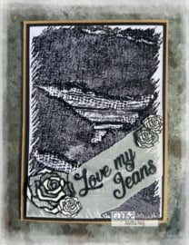 COOSA Crafts Clear Stamps #20 - Love my jeans - Large notes A6