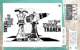 COOSA Crafts clear stamp #11 - Fusion - Mooi voor Mannen - Sweat and Tears A7 (bloed, zweet en tranen)