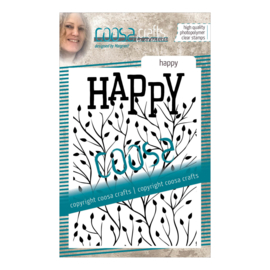 COOSA Crafts clear stamp #15 -  Word on background - Happy A7