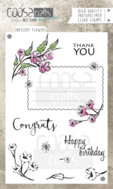COOSA Crafts clear stamps #4 - Envelope Flowers A6 - 9 pcs