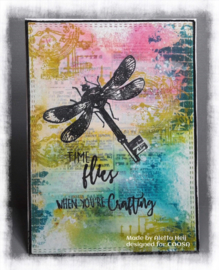 COOSA Crafts clear stamp #08 - Fusion - Flying key A7